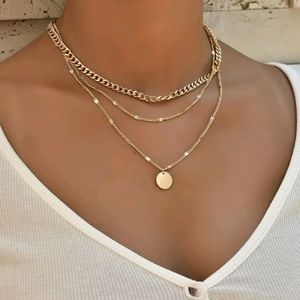💖 2/$30 SALE disc charm layered gold necklaces